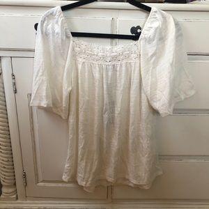Breezy Crochet White Top, NWT